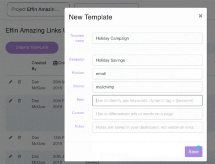 create UTM templates to manage