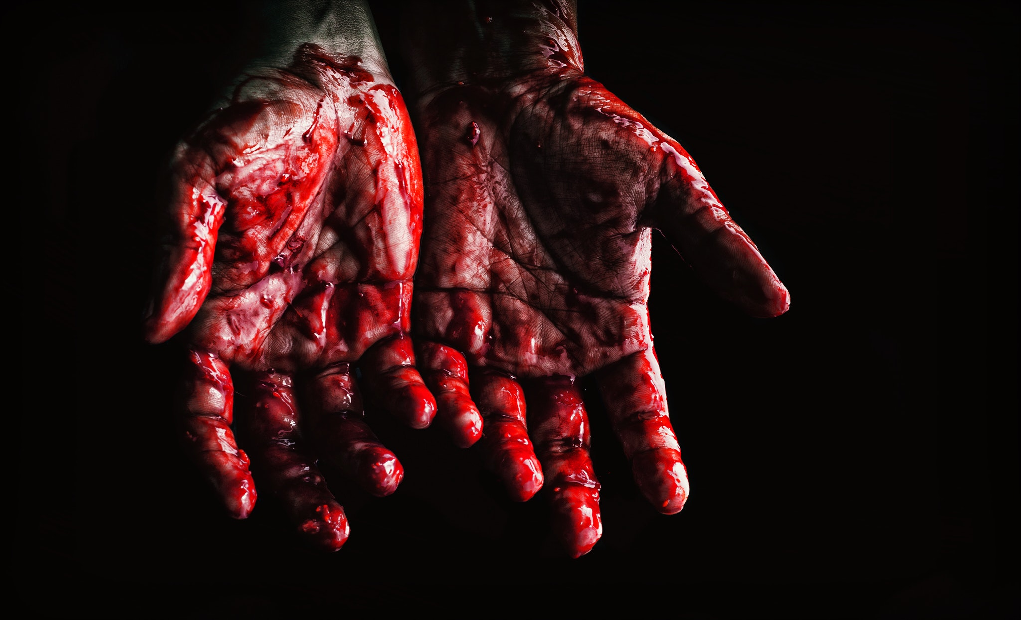 person s hands covered with blood 673862
